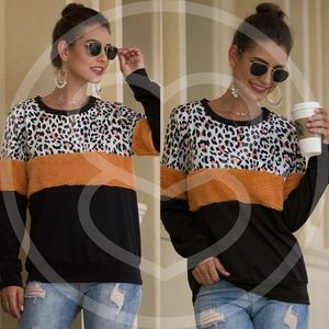 LAURIE leopard print Color block Sweater